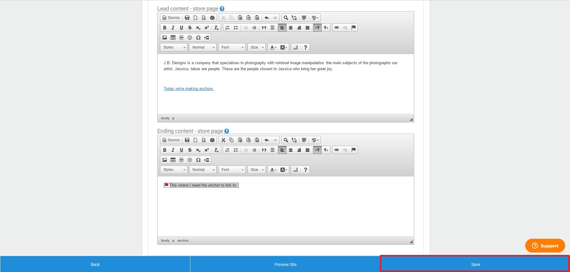 How To: Create an Anchor Using Text Via the WYSIWYG Editor