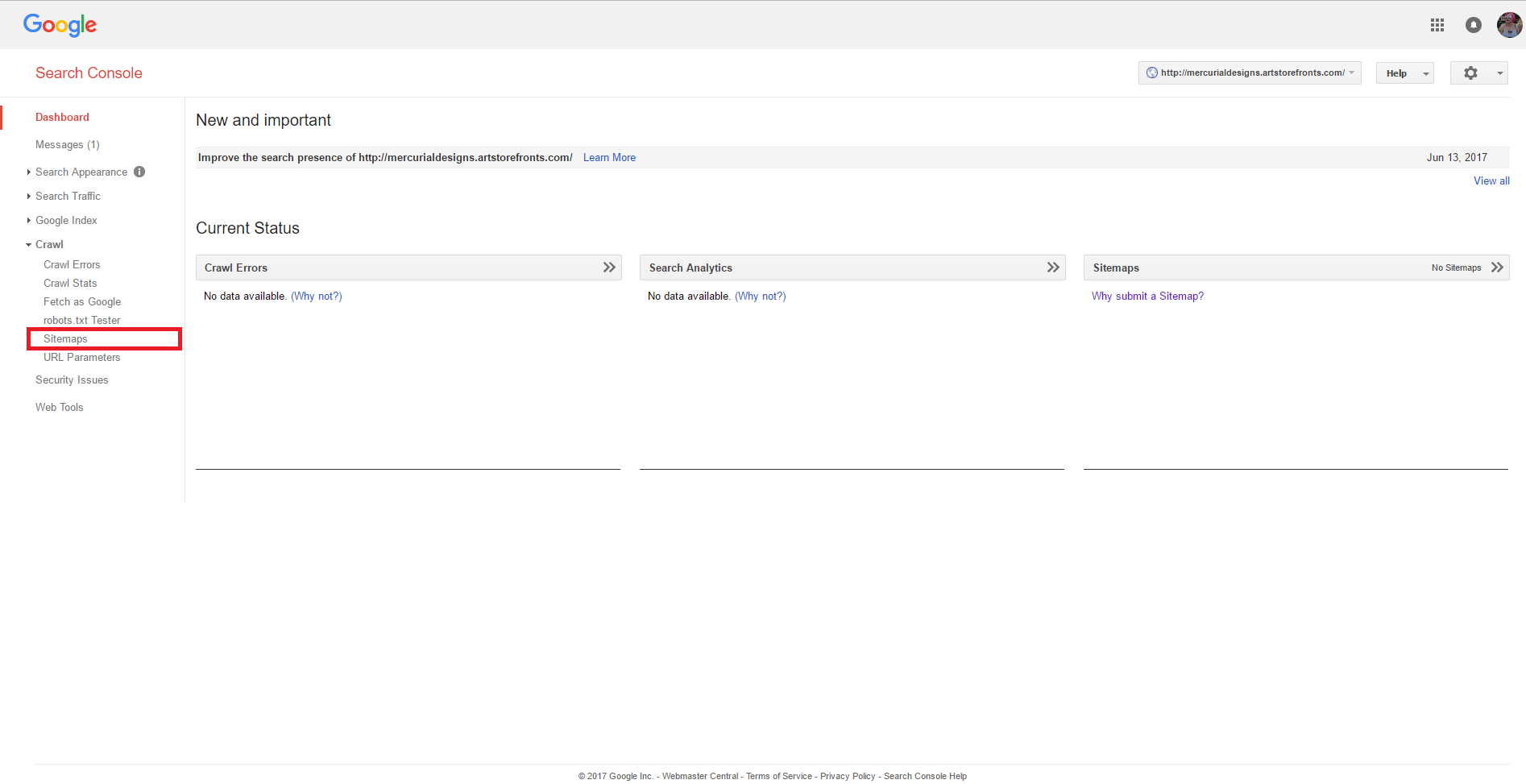 how to add a sitemap to the google search console support center