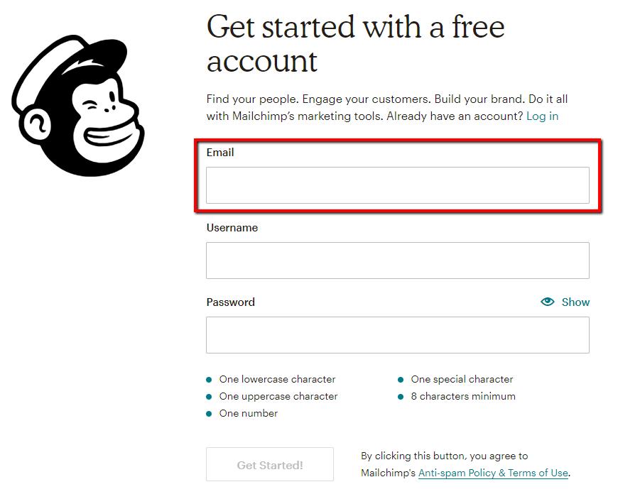 Create A MailChimp Account – Support Center
